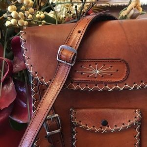Vintage leather handmade cross body comuter bag